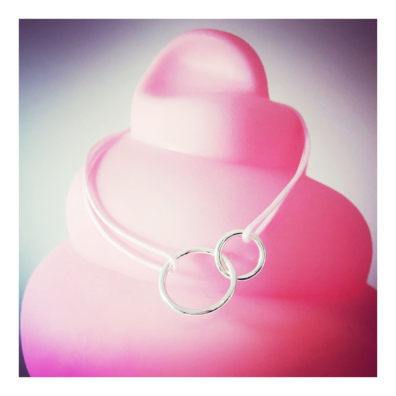 Bracelet Double circles Plaqué or Rose flashy